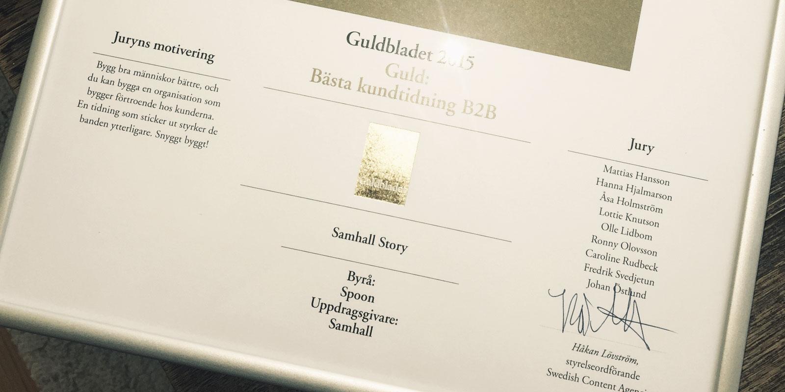 Samhall vann Guldbladet 2015